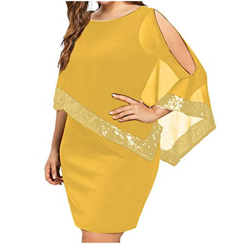 terbklf Plus Size Shift Dresses for Women Chiffon Sequin Dresses for Women Party Night Sexy Asymmetric Dress Elegant Yellow