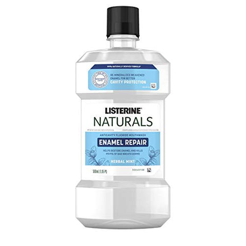 Listerine Naturals Enamel Repair Mouthwash with Mineral Sodium Fluoride, Oral Rinse To Help Restore Tooth Enamel & Kill Bad Breath Germs, 99% Naturally Derived, Herbal Mint, 500 mL