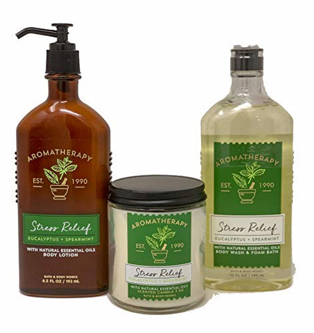 Bath & Body Works Aromatherapy Stress Relief Diffuser, Prime Spa Gift Set Wellness Bundle, Eucalyptus Spearmint Body Lotion + Body Wash & Foam Bath + Wick Candle, Relax Essential Oils