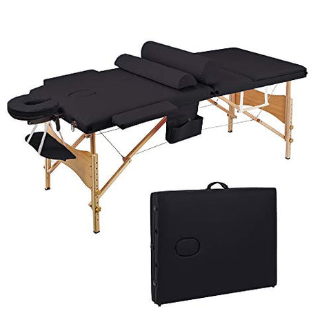 SSLine Portable Folding Massage Table 84 Inch Professional 3-Fold Massage Lash Bed with Carry Case Wooden Frame Beauty Salon Facial Spa Bed Tattoo Chair W/Head & Arm - Black