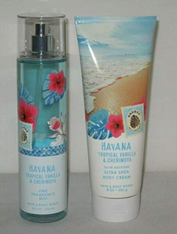 Bath and Body Works HAVANA TROPICAL VANILLA & CHERIMOYA Gift Set DUO Ultra Shea Body Cream and Fine Fragrance Mist Full Size
