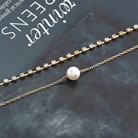 Jovono Gold Multilayed Pearl Pendant Necklaces Fashion Crystal Necklace Chain Jewelry for Women and Girls