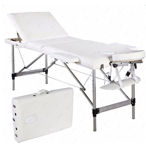 3 Sections Folding Aluminum Tube SPA Bodybuilding Massage Table Kit White