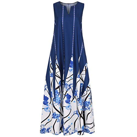 TEVEQ Women Maxi Dress Vintage Dresses for Women Plus Size Dress Sleeveless Floral Summer Boho Dress White