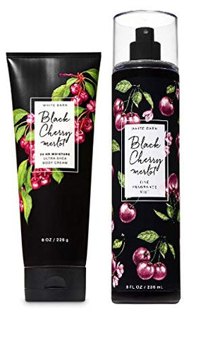 Bath and Body Works BLACK CHERRY MERLOT - DUO Gift Set - Body Cream & Fragrance Mist - Full Size
