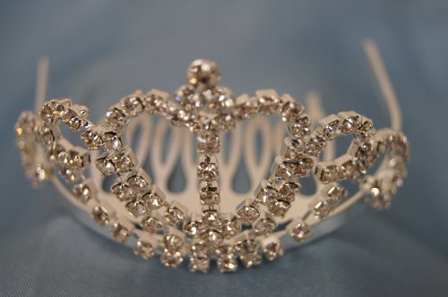 (SMALL)Elegant Bridal Wedding Tiara Crown with Crystal Party Accessories DH2109(SILVER)