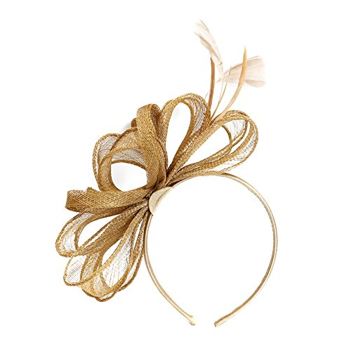 BUYITNOW Women Girl Bowknot Feather Fascinator Hair Accessories 20s Bride Flowers Headwear Prom Dinner Headband