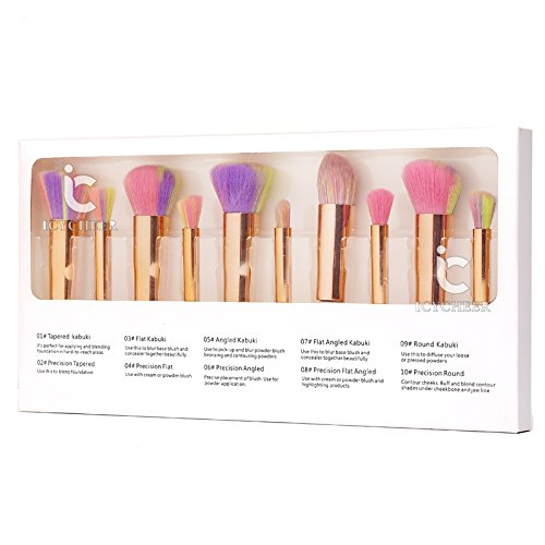 ICYCHEER 10pc Travel Makeup Brush Set Portable Retractable Foundation Face Powder Brushes Tool Kit