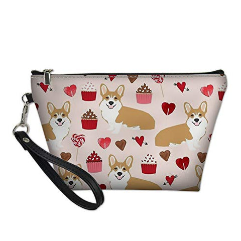 doginthehole Cosmetic Lipstick Cute Pouch Travel Makeup Bag Toiletry Organizer Purse Shiba Inu Printed