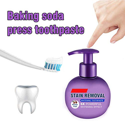 Baking Soda Whitening Toothpaste,Stain Removal Whitening Toothpaste Strengthening Toothpastes Strong Cleaning Power Natural Stain Remover Fluoride-Free Toothpaste (Passion Fruit)