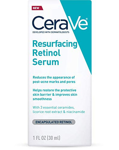 CeraVe Retinol Serum for Post-Acne Marks and Skin Texture | Pore Refining, Resurfacing, Brightening Facial Serum with Retinol | 1 Ounce