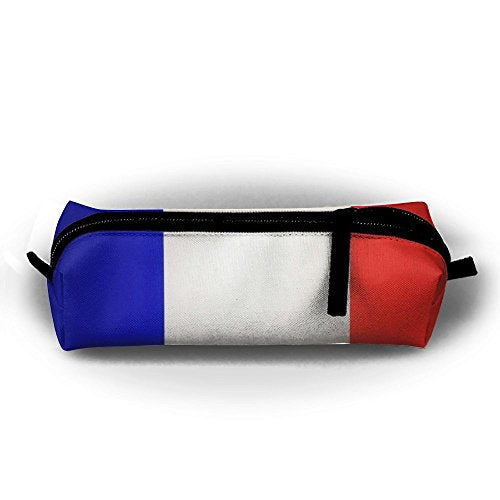 French Flag Pen Pencil Stationery Bag Makeup Case Travel Cosmetic Brush Accessories Toiletries Pouch Bags Zipper Resistance Carry Handle Power Lines Hanging Handbag Documents
