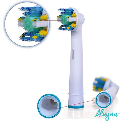Floss Action Generic Replacement Toothbrush Head by AlaynaTM 12 + 4 Free Brush Head Travel Case!