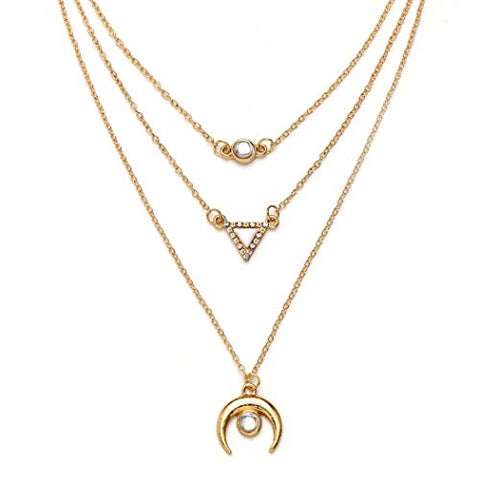Jovono Gold Multilayed Crescent Moon Opal Pendant Necklaces Boho Triangle Fashion Necklace Chain Jewelry for Women and Girls