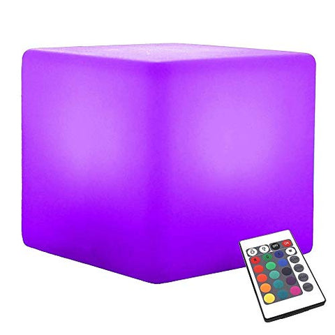 Paddia Light Up LED Mood Light Remote Control USB Chargeable Powered 16RGB Colour 4 Brightness Mood Lamp Waterproof Indoor/Outdoor Led Cube Stool Home Decorative Night Light Furniture Decoration