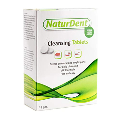Denture Cleaner Tablet NaturDent Cleans Removes Dark Stains Plaque and Odor From Full Dentures, Partial Dentures Prosthesis and Orthodontic Braces