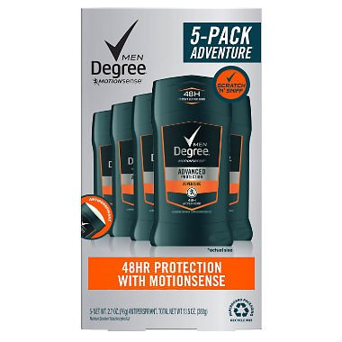 Degree for Men Advanced Protection Antiperspirant, Adventure 2.7 oz, 5 pk. (pack of 3) A1