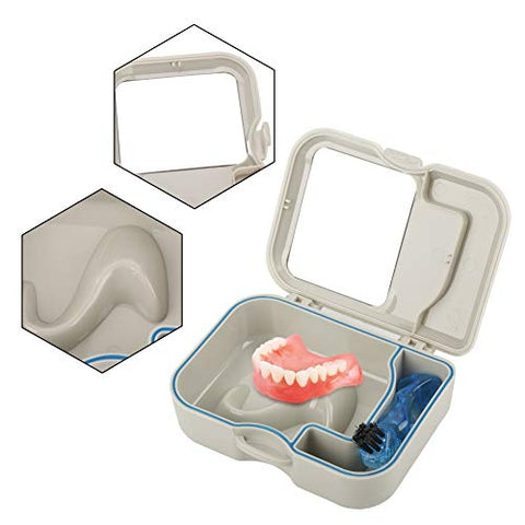 Maxmartt Denture Brush,Denture False Teeth Storage Box Case With Mirror and Clean Brush Dental Appliance