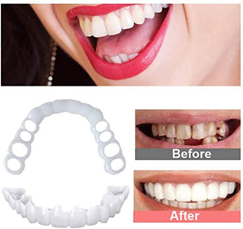 ZXH 2 Pair Veneers Snap in Teeth,Denture Cover Instant Perfect Smile Top and Bottom Comfortable Snap on Fake Teeth Cover Simulated Teeth, for Bad Tooth Makeover and Confident Smile