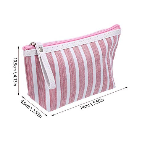 Beaupretty 2Pcs Portable Makeup Bag Fabric Pink Stripe Cosmetic Bag Stationary Case Toiletry Storage Pouch Pen Holder with Zipper for Travel Makeup Organizing Stationary