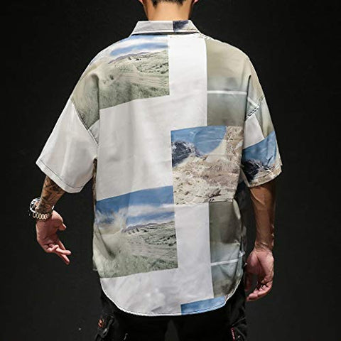 Men's Hawaiian Aloha Shirt Vintage Casual Button Down Tee Mens Short Sleeve Shirts Fishing Tees Summer Shirts Yellow