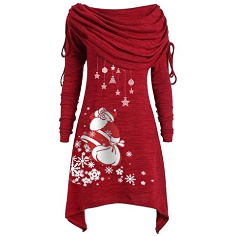 jin?Co Merry Christmas Women's Plus Size Tunic Tops Santa Claus Ruched Collar Snowman Snowflake Pullover Sweatshirts Red