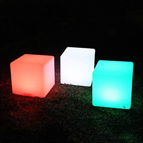 Paddia Rechargeable Colour Changing Led Mood Light Cube with Remote Control Waterproof Indoor/Outdoor Led Night Light Stool Home Party Decorative Lighting Bedroom Party Pool Patio Bar Party