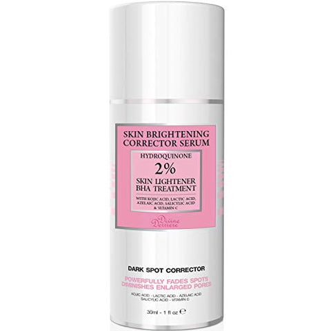 2% Hydroquinone Dark Spot Corrector Remover For Face & Melasma Treatment Fade Cream - Contains Vitamin C, Salicylic Acid, Kojic Acid, Azelaic Acid and Lactic Acid Peel 1 oz
