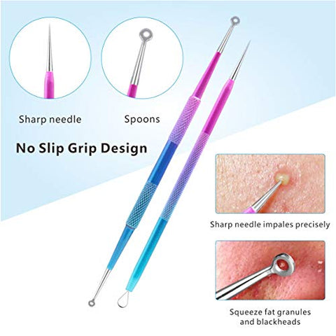[New]Blackhead Remover Pimple Extractor Tool 10PCS, Ybaoo Professional Surgical Pimple Popper Tool Kit - Treatment for Blackheads, Pimples, Whiteheads and Zit Popper (Colorful)