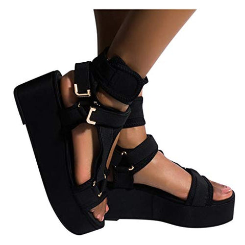 HIRIRI Platform Sandals for Women Ankle Strap Open Toe Strappy Sandals Summer Comfortable Wedge Heel Shoes Black