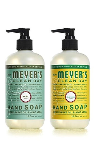 Mrs. Meyer's Clean Day Liquid Hand Soap Basil & Honeysuckle (2x12.5 fl oz)