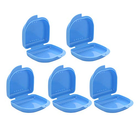 Exceart 5pcs Dental Retainer Case Hinged Lid Denture Storage Box Denture Box Container with Vent Holes (Blue)