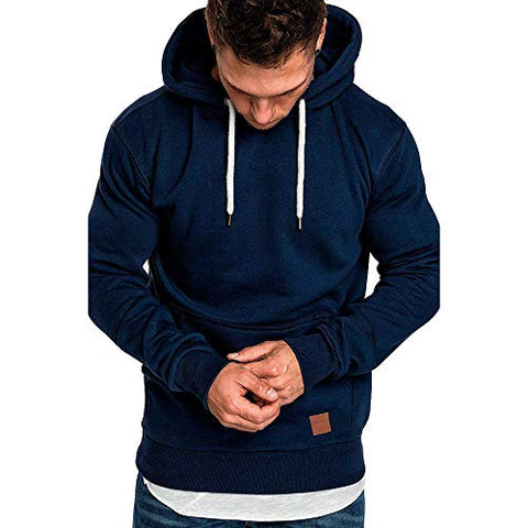 jin?Co Mens Casual Hooded Sweatshirts Solid Color Drawstring Autumn Winter Active Sport Pullover with Front Pockets Navy