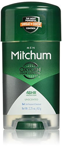 Mitchum Anti-Perspirant & Deodorant, Unscented for Men, 2.25 oz (Pack of 2)