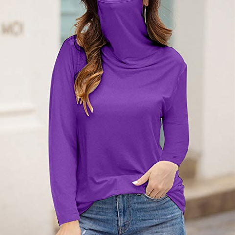 Eoeth Women's Casual Long Sleeve Tops with Face Bandana Face Scarf T-Shirt Blouse Purple