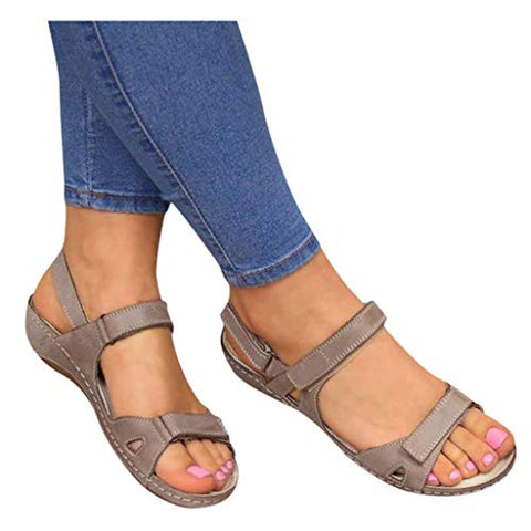 Sandals for Women Platform,Premium Orthopedic Open Toe Sandals for Women Comfy Sandals Casual Summer Hook and Loop Sandals Grey