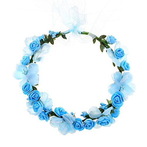 Accesyes Rose Flower Headband Leaf Berry Hair Wreath Party Festival Wedding Photography Floral Crown (Blue)