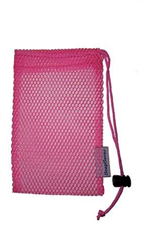 "2  Pink Soap Saver Pouches W/String Lock, The Affordable"" Soap On A Rope"" Exfoliating Scrubber"