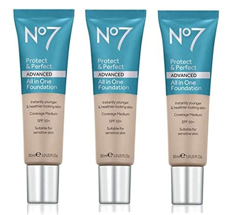 No 7 Protect & Perfect Advanced Foundation - WARM SAND (3 Pack)
