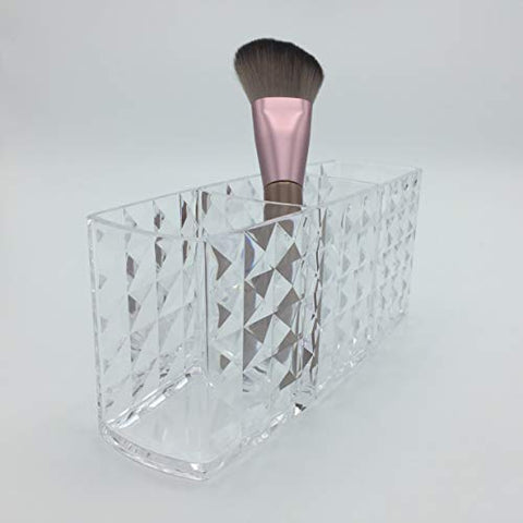 Makeup Brush Holder Organizer Vanity - Acrylic Cosmetic Storage Clear for Bathroom Countertop