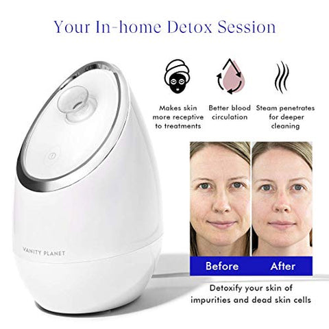Vanity Planet Aera Ionic Facial Steamer- Pore Cleaner that Detoxifies, Cleanses and Moisturizes Skin, Adjustable Nozzle, Inbuilt Water Tank with 3 Essential oil Baskets