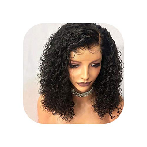 Bob Curly Lace Front Human Hair Wigs For Black Women With Baby Hair Pre Plucked Brazilian Remy Short Bob Wig,8Inches