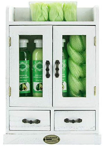 BRUBAKER Cosmetics 10-Piece Bath and Body Gift Set - Avocado -Spa Gift in Wooden Cabinet - Vintage White