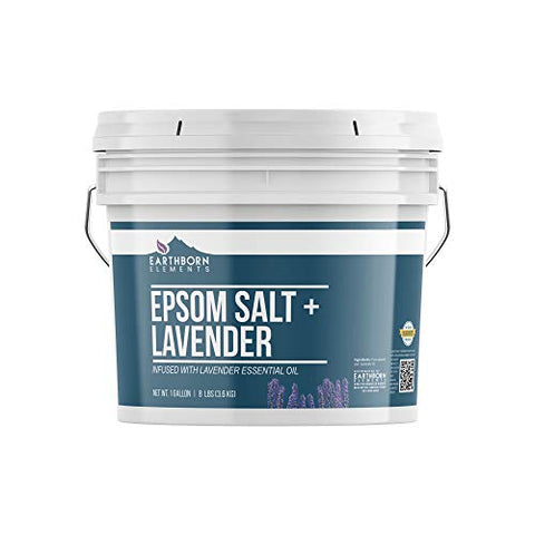 Lavender Epsom Salt (1 Gallon Bucket), Infused with Lavender Essential Oil, Promotes Relaxation & Sleep, Stress Relief, Aromatherapy by Earthborn Elements
