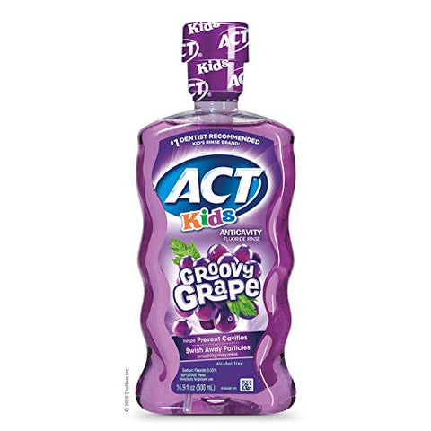 ACT Kids Anticavity Fluoride Rinse Groovy Grape 16.9 fl. oz. Accurate Dosing Cup, Alcohol Free