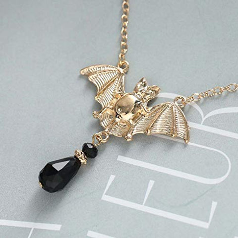 Yalice Gothic Bat Pendant Necklace Chain Black Rhinestone Necklaces Halloween Necklace Jewelry for Women and Girls (Gold)