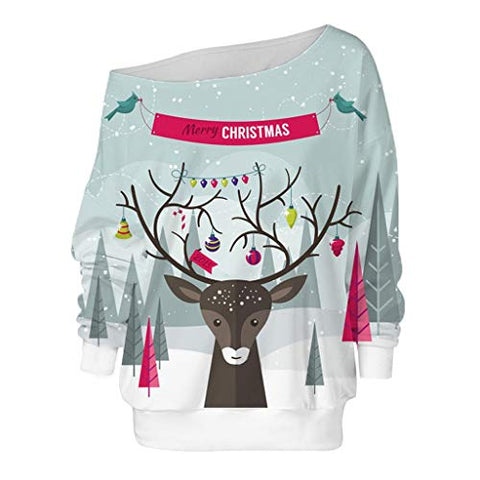 Xmas Long Sleeve Blouse,Jushye Women Christmas Snowflake Elk Off Shoulder Pullover Sweatshirt Casual Sweater Outerwear (L, Gray)