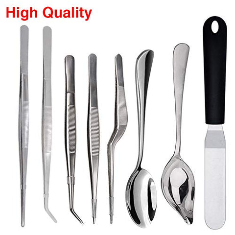 Rivoean Culinary Specialty Tools,Professional Chef Plating Kit, 8 Piece, Stainless Steel