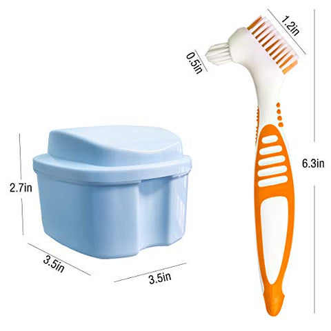 Denture Box Case with Brush, Travel Portable False Teeth Cup with Strainer, Denture Bath Container for Complete Cleaning Care (Light Blue)