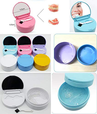 Denture Case Portable False Teeth Storage Box Orthodontics case Denture Container Holder #20